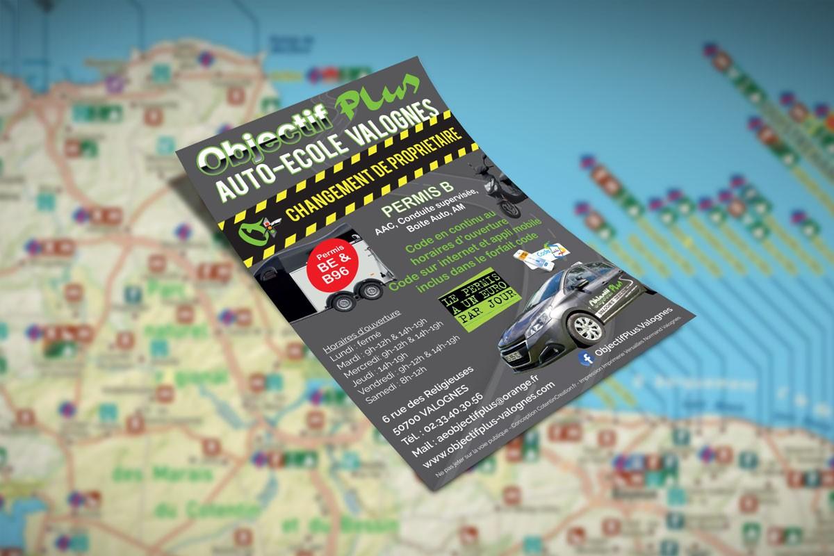 Création d'un flyer pour une auto-ecole de Valognes
